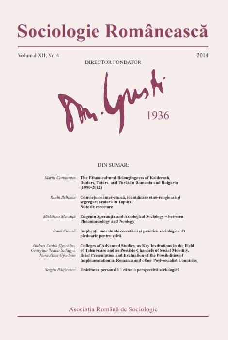 Coperta Sociologie Românească 4/2014